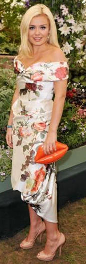 Katharin Jenkins with Lulu Guinness Lips Clutch at Chelsea Flower Show