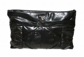prada-black-leather-calfskin-pleated-clutch