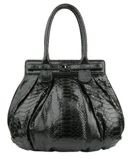 zagliani-black-python-puffy-handbag