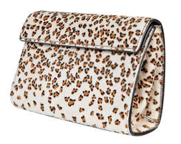 Azzedine Alaia white pony skin clutch with leopard print