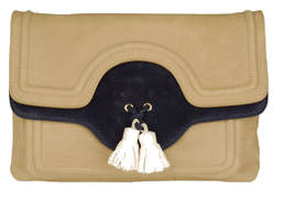 Tila March contrast navy bag with tassles