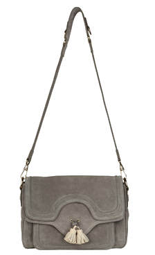 Suede Shoulder Bag with Tassles in Navy or Grey | Designer Handbags
