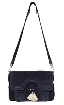 Tila March navy suede shoulder bag with tassles