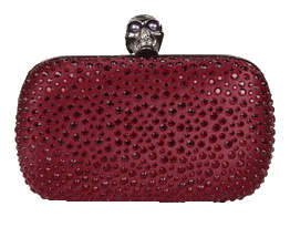 Alexander McQueen red skull clasp clutch with crystal studding