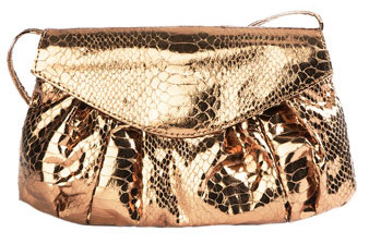 Carlos Falchi Bronze Cross Body Python Clutch