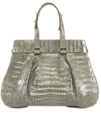 Nancy Gonzalez Grey Crocodile Leather Tote