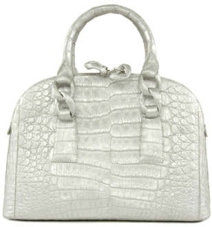 Nancy Gonzalez Silver Crocodile Leather Tote