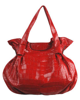 Zagliani red crocodile puffy handbag