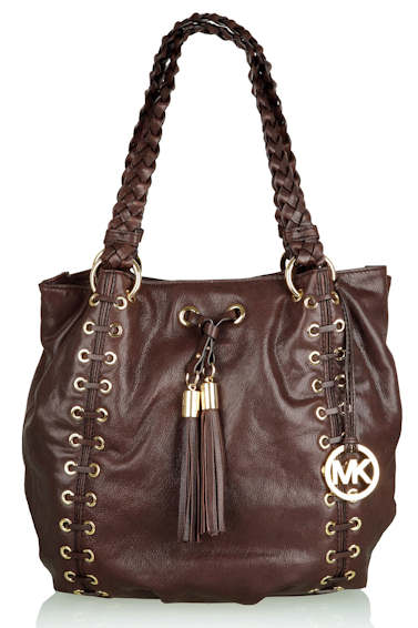 Michael by Michael Kors brown-astor-gromett-plaited-handle-shopper