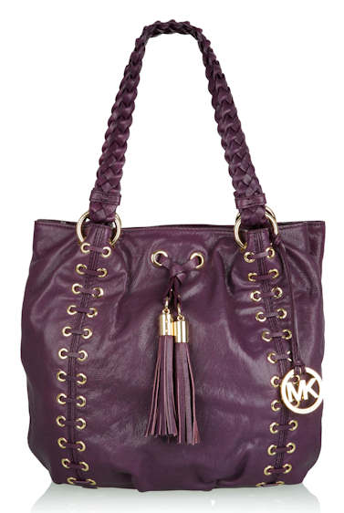 Michael by Michael Kors purple-astor-gromett-plaited-handle-shopper