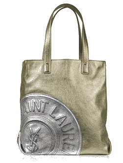 Yves Saint Laurent YSL Gold and Silver Metallic Leather Tote