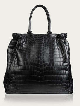 Zagliani black crocodile shopper