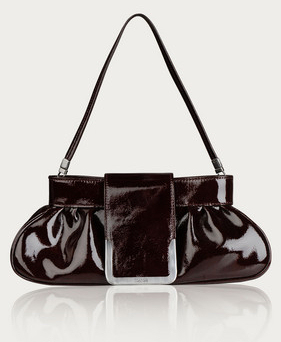 Maxmara Bordeaux patent evening bag