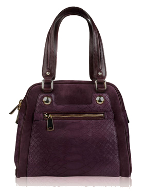 Maxmara purple medium reptile suede bowling bag