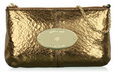 Mulberry Antique Gold Cracked Metallic Charlie Clutch