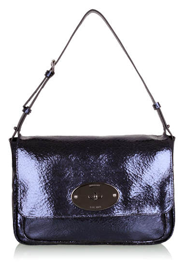Mulberry Midnight Cracked Metallic Bayswater
