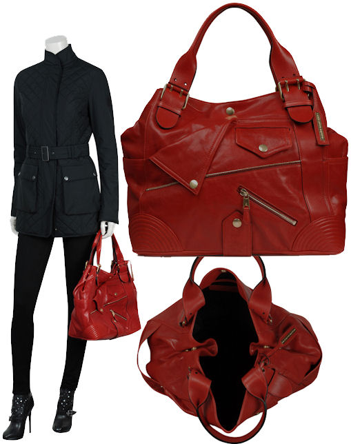 Alexander McQueen Faithful Red Leather Biker Tote Bag