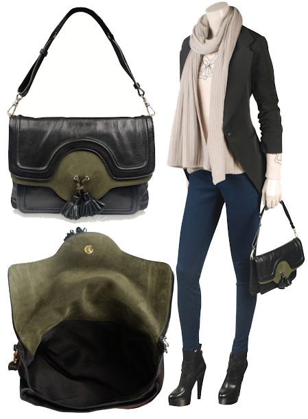 Tila March green and black suede shoulder bag