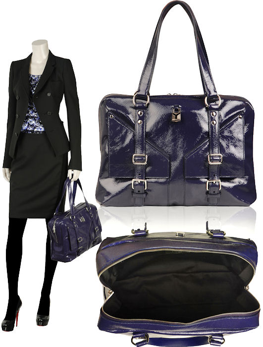Yves Saint Laurent YSL Lover Bag in Navy Patent Leather