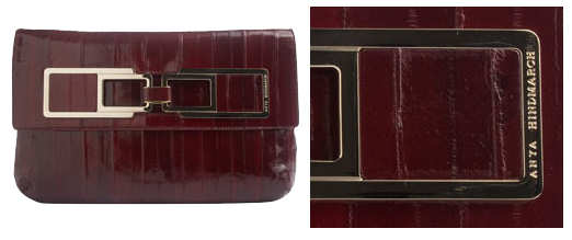 Anya Hindmarch Rust Pipkin Large Square Clutch Bag in Eel leather