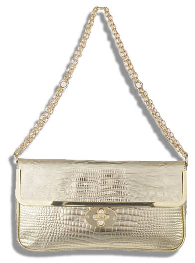 Just Cavalli Gold Crocodile Moc Croc Leather Clutch Bag