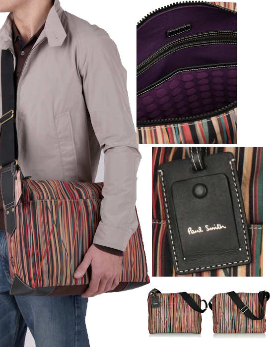 Paul Smith Mens Tangled Multistripe Laptop Bag