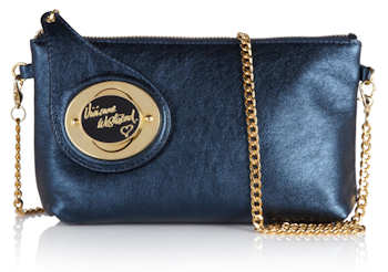 Vivienne Westwood Chatelaine Cross Body Bag in Blue Metallic Leather