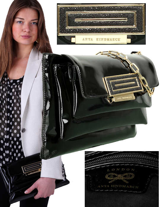 Anya Hindmarch 3 Pocket Clutch Bag in black patent Naplak leather