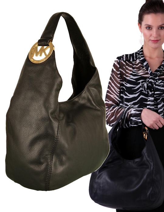 25075e3398 The Michael by Michael Kors Fulton hobo tote bag in black mottled leather  tote features a large gold-tone   ...
