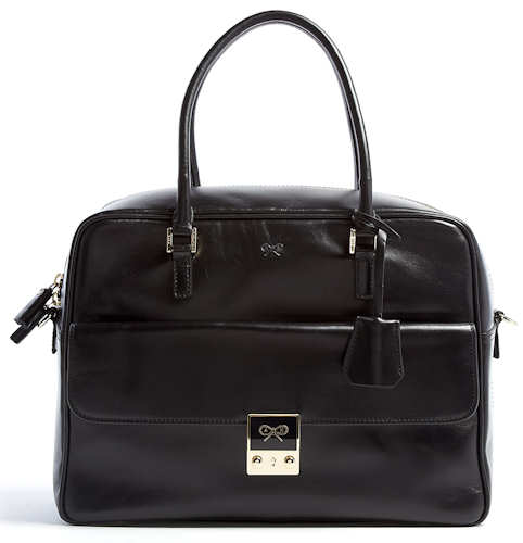 Anya Hindmarch Black Leather Carker Tote Bag