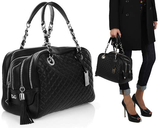 Dolce and Gabbana Quilted Lily - Black D G Lily in Black Quilted Leather f1095976fa14a