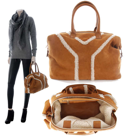 Yves Saint Laurent Easy Bag in Suede and Sheepskin