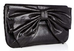 Lulu Guinness Black Sparkle Leather Leona Bow Clutch