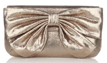 Lulu Guinness Platinum Sparkle Leather Leona Bow Clutch