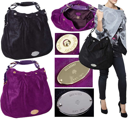 Mulberry Mitzy Glitter Bag in Plum or Black