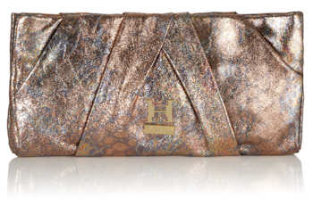 Halston Heritage Copper Metallic Clutch