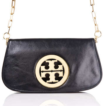 Tory Burch Logo Clutch in Black
