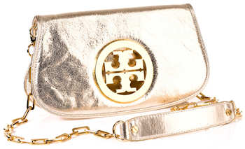 Tory Burch Metallic Logo Clutch in Gold