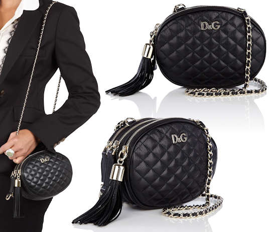 3a5bf501d4c9 D G Lily Glam Oval Quilted Mini Bag in Black