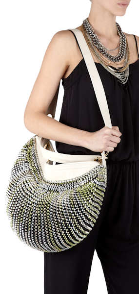 DVF Twilight Stephanie Bag in Lime and Cream