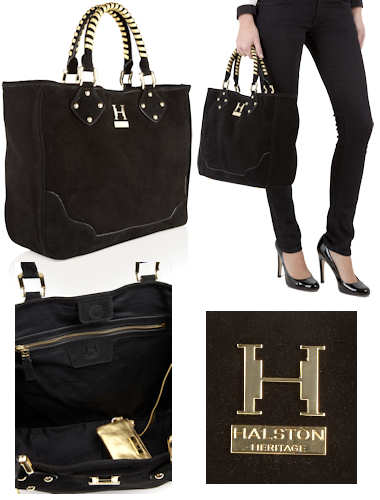 Halston Heritage Michelle Suede Tote Bag in Black with Gold Hardware