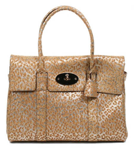 Mulberry Gold Glitter Leopard Bayswater