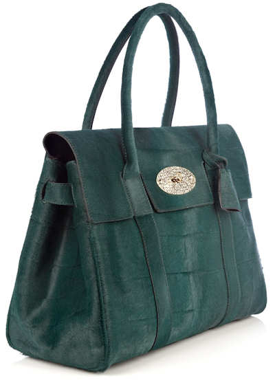 Mulberry Bayswater Pheasant Green Croc Haircalf