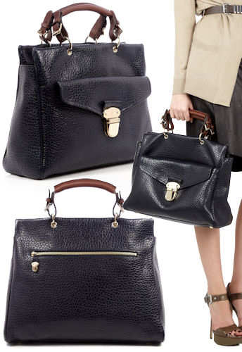 Mulberry Polly Push Lock Tote Midnight Shiny Grain