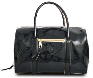 Chloe Madeleine Bowling Bag in Black Patent Leather