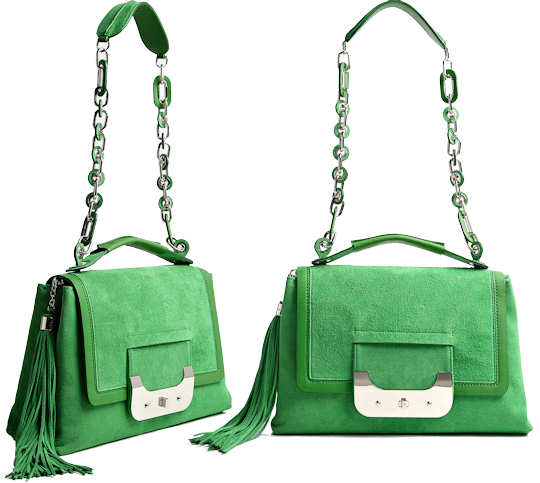 Diane Von Furstenberg Harper Large Day Bag in Green Suede