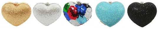 KoKo Heart Clutches in gold silver multi turquoise or black