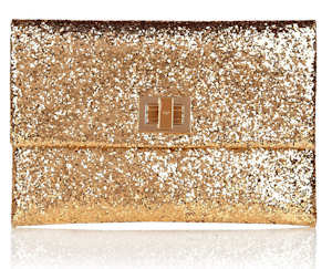 Anya Hindmarch Gold Glitter Clutch Valorie