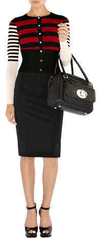 Karen Millen Bowling Bag in Black leather