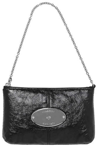 Mulberry Black Patent Charlie Clutch